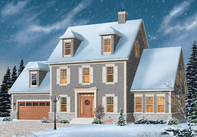 Early-american Style Home Design Plan: 5-734