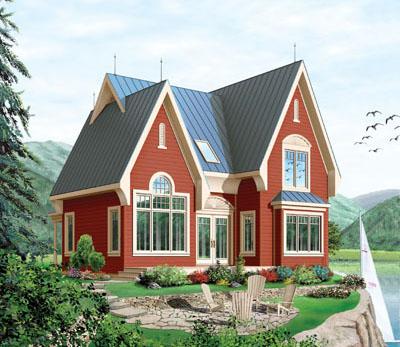 European Style Home Design Plan: 5-750