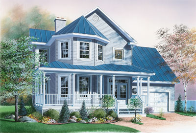 Country Style Home Design Plan: 5-826