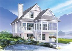 Waterfront Style Home Design Plan: 5-836
