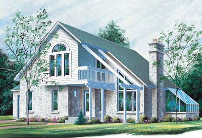 Contemporary Style Home Design Plan: 5-849
