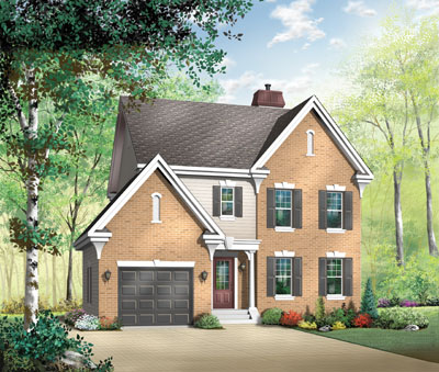 Colonial Style Home Design Plan: 5-864