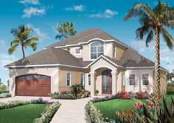 Mediterranean Style Home Design Plan: 5-968