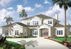Mediterranean Style Home Design Plan: 5-971