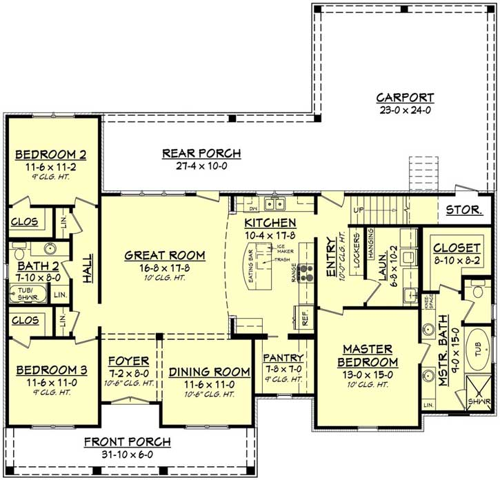 French Country House Plan 3 Bedrooms 3 Bath 1900 Sq Ft Plan 50 242