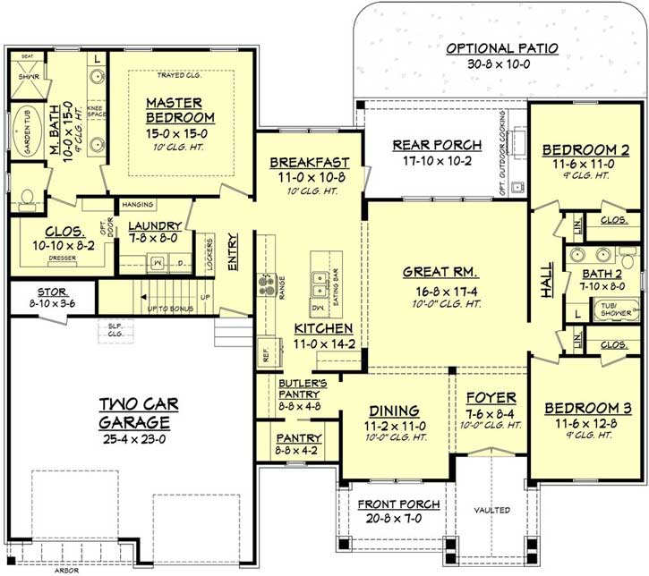 Craftsman House Plan - 3 Bedrooms, 2 Bath, 2073 Sq Ft Plan ... on house rendering, house blueprints, house design, house models, house elevations, house drawings, house construction, house structure, house painting, house types, house foundation, house building, house maps, house plants, house layout, house styles, house framing, house clip art, house exterior, house roof,