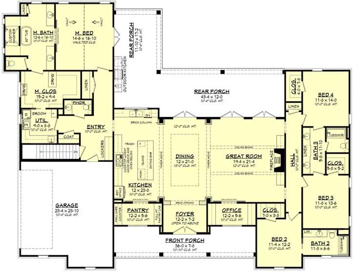 Modern-farmhouse Style Floor Plans 50-393