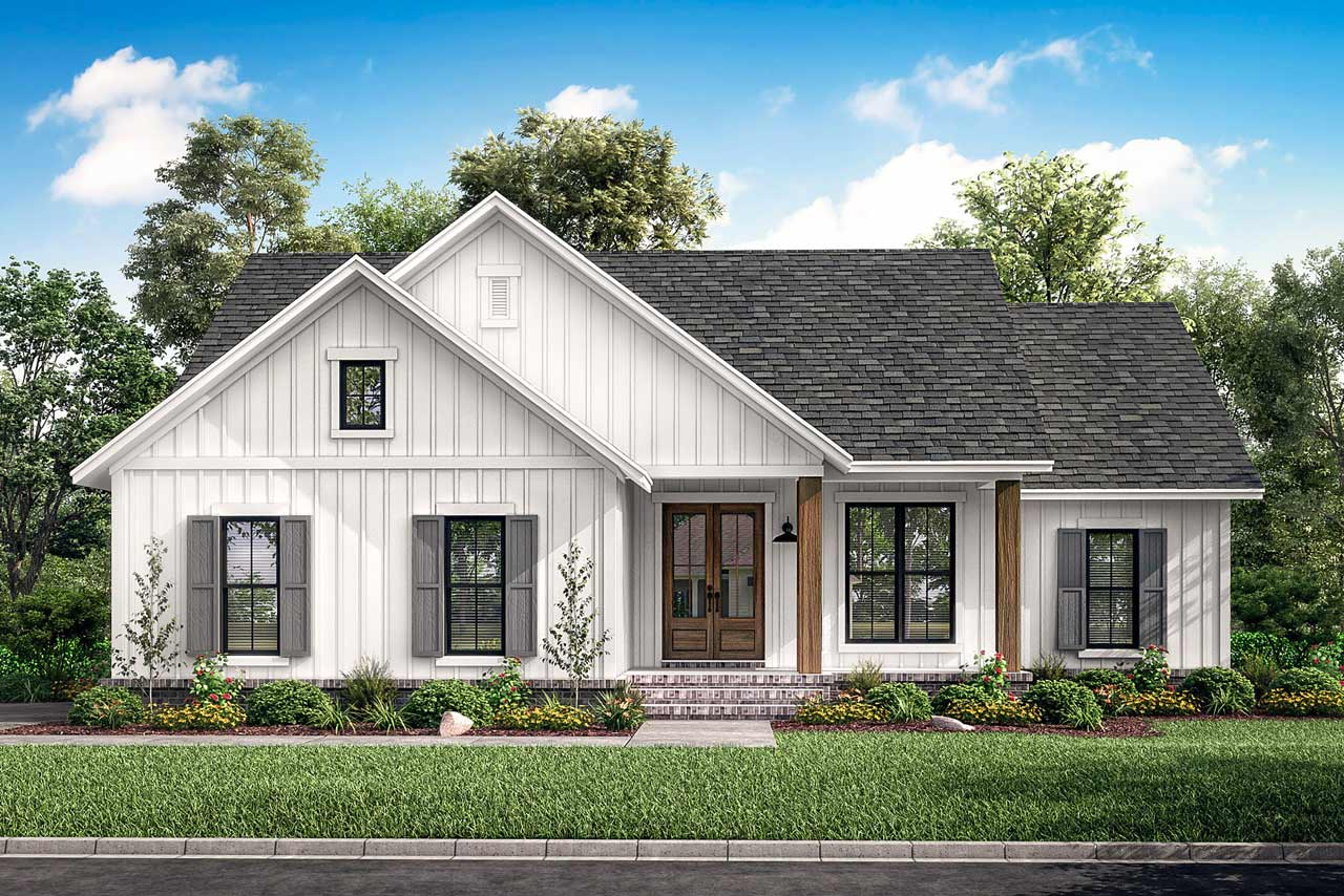 Modern-farmhouse House Plan - 3 Bedrooms, 2 Bath, 1398 Sq ...