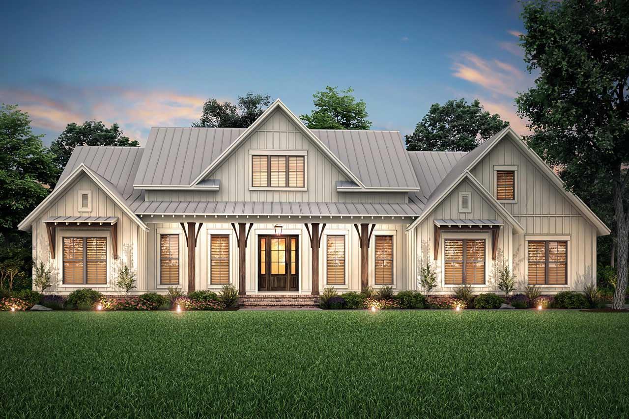 Modern-Farmhouse Style House Plans Plan: 50-397