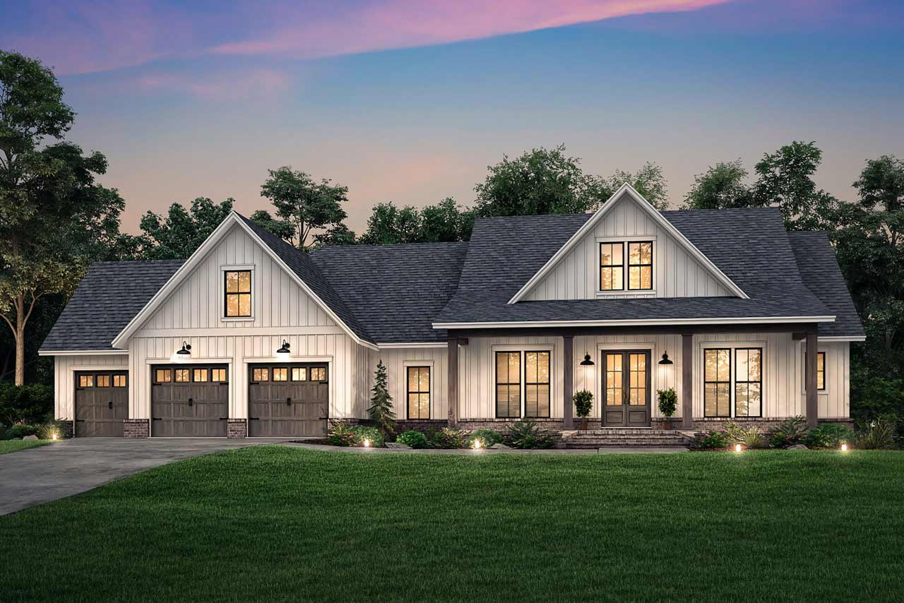 Modern-farmhouse Style Home Design Plan: 50-398