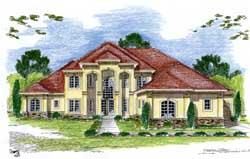 Mediterranean Style Home Design Plan: 52-177
