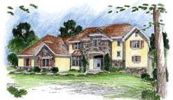 European Style Home Design Plan: 52-199