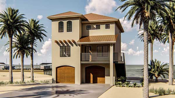 Coastal Style Home Design Plan: 52-263