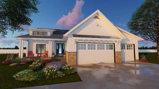 Modern-farmhouse Style Floor Plans Plan: 52-291