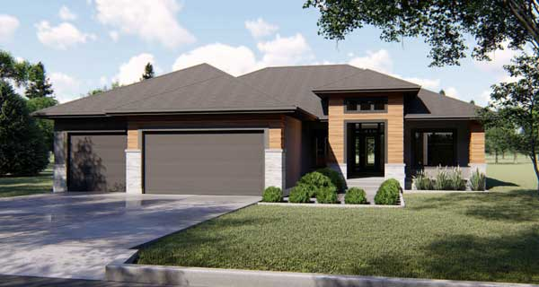Modern Style Home Design Plan: 52-309
