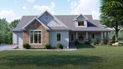 Modern-Farmhouse Style Home Design Plan: 52-317