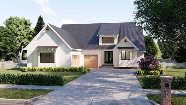 Modern-farmhouse Style Home Design Plan: 52-329