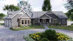 Craftsman Style Home Design Plan: 52-336