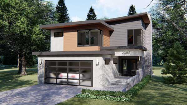 Modern Style Home Design Plan: 52-342