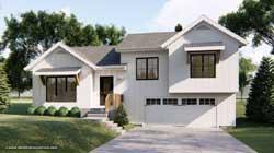 Modern-Farmhouse Style Home Design Plan: 52-354