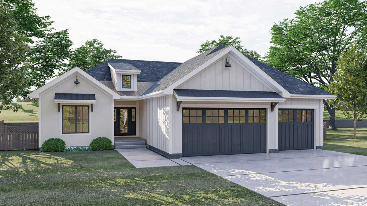 Modern-farmhouse Style House Plans Plan: 52-356