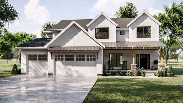 Modern-farmhouse Style House Plans Plan: 52-380