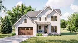Modern-Farmhouse Style Home Design Plan: 52-388