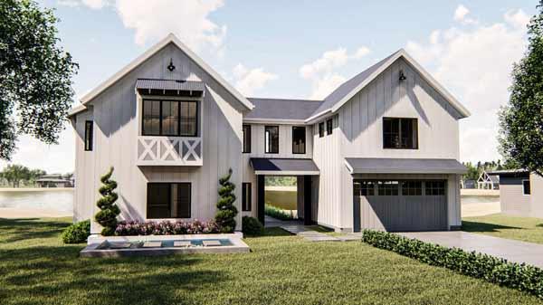 Modern-Farmhouse Style House Plans Plan: 52-399