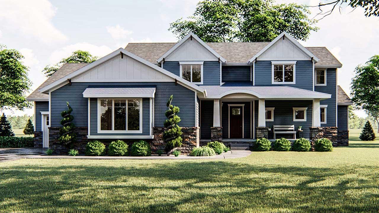 Craftsman Style Home Design Plan: 52-404