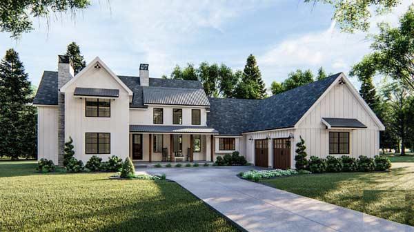 Modern-Farmhouse Style House Plans Plan: 52-423