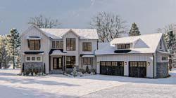 Modern-Farmhouse Style Home Design Plan: 52-433