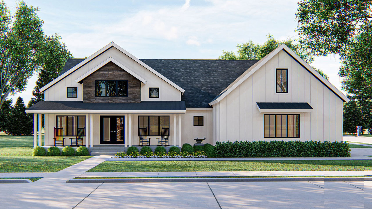 Modern-farmhouse Style Floor Plans Plan: 52-442