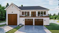 Modern-Farmhouse Style Home Design Plan: 52-447