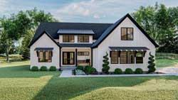 Modern-Farmhouse Style Home Design Plan: 52-457