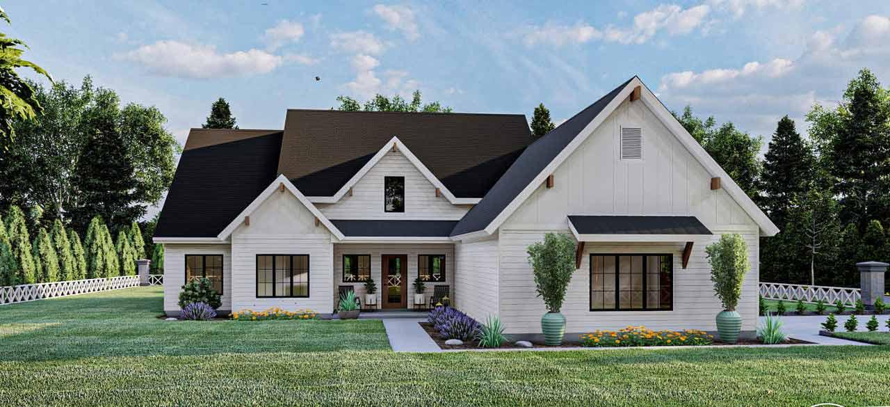 Modern-farmhouse Style Floor Plans Plan: 52-470