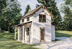 Modern-Farmhouse Style Home Design Plan: 52-483