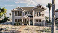 Beach Style Home Design Plan: 52-488