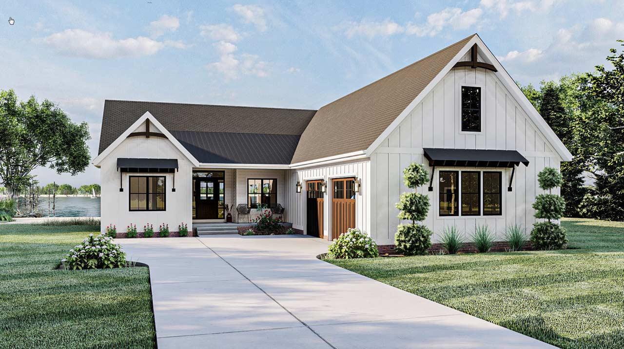 Modern-farmhouse Style House Plans Plan: 52-491