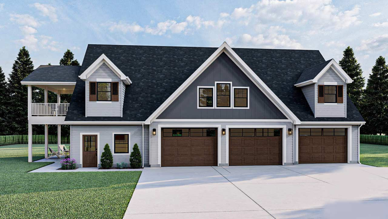 Carriage Style Home Design Plan: 52-495