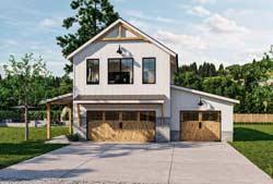 Modern-Farmhouse Style Home Design Plan: 52-513