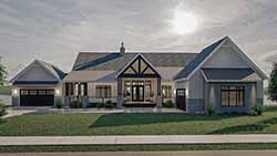 Modern-Farmhouse Style Home Design Plan: 52-522