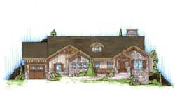 Mountain-or-Rustic Style Home Design Plan: 53-114