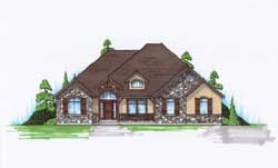 English-Country Style Home Design Plan: 53-127