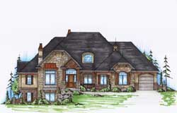 English-Country Style Home Design Plan: 53-229