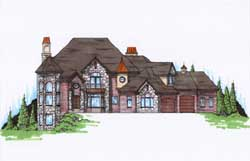 European Style Home Design Plan: 53-299