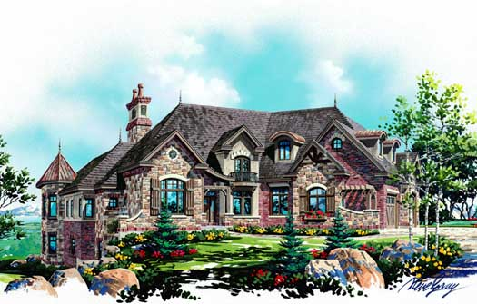 French-country Style Home Design Plan: 53-316