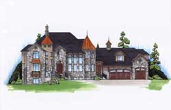 European Style Home Design Plan: 53-334