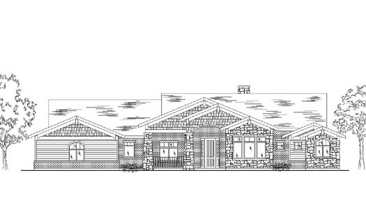 Craftsman Style Home Design Plan: 53-370