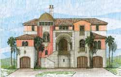 Mediterranean Style Home Design Plan: 54-101