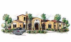 Mediterranean Style Home Design Plan: 54-107